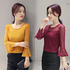 Delicate Women Slim Lace Blouse Tops Office Lady Flounced Sleeve Tee Shirts