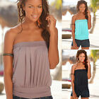 Womens Sexy Strapless Bandeau T-shirt Blouse Ladies Summer Casual Vest Tank Tops