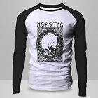 New HERETIC SKULL Rare Retro Pentagram DTG Raglan BASEBALL T-Shirt Tumblr Tee