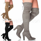 WOMENS LADIES BLOCK HIGH HEEL POINTED TOE ZIP OVER THE KNEE THIGH BOOTS SIZE