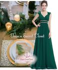 ATHENA Emerald Green Gold Beaded Evening Cruise Bridesmaid Dress UK 8 - 20