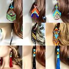 New women Handmade Long beaded Drop/Dangle chandelier big Earrings, USA seller