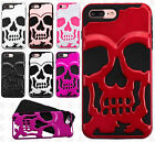 For Apple iPhone 7 & 7 PLUS SKULL Hard Hybrid Dual Layer Rubber Phone Case Cover