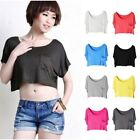 Loose Women Girls Pockets Basic Crop Top T-shirt Modal Tank Tops Short Vest
