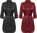 Womens Satin Button Collar Shirt Midi Dress Ladies Long Sleeve Belted 8-14