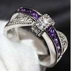 Romantic Wedding Ring Size 6-10 Fashion Jewelry Purple Sapphire Silver Gift New!