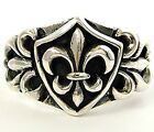 FLEUR DE LIS SOLID STERLING 925 SILVER BAND RING
