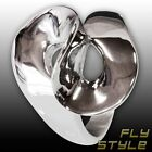 Design LOOP BOW RING Stainless Steel Silver Spiral Twist Fashion Vintage Ethno