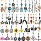 316L surgical steel Rhinestone Navel Belly Ring Button Bar Barbell Body Piercing image