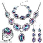 GIFT 4 Pcs New Women Lady Fashion Silver Plated Multicolour Gem Jewelry Set
