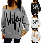 Fashion Women's Wifey Print Long Sleeve Casual Loose Blouse Shirt Tops Blouse