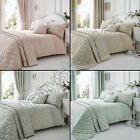 ELEGANT FLORAL JACQUARD COTTON RICH CREAM PINK SILVER BEDSPREAD BED THROW COVER