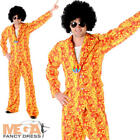 Hippie Mens Suit Fancy Dress 1960s 70s Hippy Groovy Funky Adults Costume Outfit