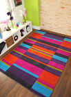 Multi Colour Pink Purple Blue Lime Green Orange Thick Handmade Wool Small XL Rug