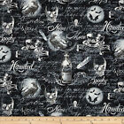 WICKED WEBS SKULLS SPOOKY BLACK NOVELTY QUILT FABRIC ** Free Oz Post