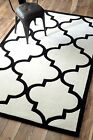 New Keno Trellis Contemporary Hand Tufted Geometric White Black Sale Area Rug