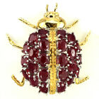 40x39mm. AWESOME OVAL TOP BLOOD RED RUBY STERLING 925 SILVER BIG LADYBUG BROOCH