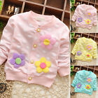 Kids Children Baby Girls Cloth Button Placket Coat Floral Printed Jacket Outwear