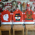 Red Hat Snowman Santa Claus Reindeer Chair Covers Christmas Dinner Decorations