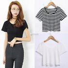 Fashion Ladies Women Sexy Short Sleeve Crop Tops Yoga Casual Blouse Vest DZ88