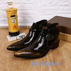 Mens Pointy Toe Ankle short Buckle Boots shoes Patent Leather plus SZ vogue hot