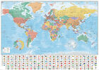 POLITICAL MAP OF THE WORLD - GIANT XXL POSTER / PRINT (COUNTRY FLAGS #2)