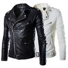 Fashion Men Jackets Collar Slim Motorcycle Leather Jacket Coat Outwear Black New