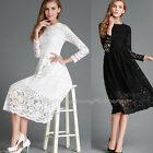 Fashion Women Hollow Elegant Lace Party Evening Prom Long Sleeve Casual Dress