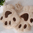 Women Cat Claw Paw Mitten Plush Glove Costume Gift Winter Half Finger JYL