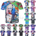 Comics Suicide Squad Tattoos 3D T-Shirt Sports Harley Quinn&Joker Costume Top, used for sale  Hong Kong