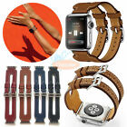 Luxury Leather Double Buckle Cuff Watch band iWatch Strap For Apple Watch 1 2