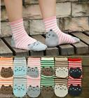 GIFT 3D Animals Striped Cartoon Women Cartoon Cat Footprints Cotton Socks