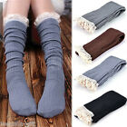 Gift Women Winter Crochet Bow Lace Trim Socks Knit Leg Warmer Boot Socks Knee