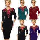 Womens Elegant embroidery Crochet V-neck Bodycon Work Party Cocktail Dress 4241
