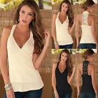 Sexy Womens Sleeveless V Neck Backless Lace Vest Tank Tops Summer Shirt Blouse