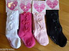 FANCY BABY TIGHTS WITH BOWS WHITE/PINK/BLACK/CERISE,WARM, STRETCHY ,0/3 3/6 6/12