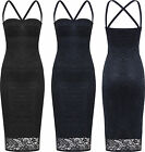 Womens Strappy Lace Lined Lurex Party Dress Ladies Sleeveless Bodycon New 8-14