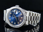 Mens Stainless Steel Rolex Datejust Presidential 36 MM Blue Dial Watch 2.5 Ct