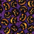 HALLOWEEN PUMPKIN HEADS PURPLE GOTH QUILT SEWING FABRIC Free Oz Post