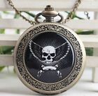 antique Steampunk fly evil skull Pocket Watch Necklace skeleton pocket watch