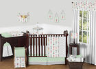 BUMPERLESS CORAL MINT AND GRAY WOODLAND ARROW GIRLS ROOM BABY BEDDING CRIB SET