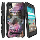For LG X Power K6P Rugged Holster Clip Stand Case Black White Flowers