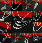 Women Luxury 925 Sterling Silver Fashion Plated Pendant Necklace Chain Jewelry A