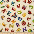 LAUREL LAND ALPHABET A-Z WHITE GILDED QUILT SEWING CRAFT FABRIC Free Oz Post