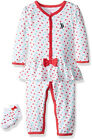 US Polo Assn Infant Girls Skirted Romper With Socks Size 3/6M 6/9M $24
