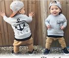 2Pcs Kids Baby Boy Long Sleeve T-shirt Tops+Long Pants Outfits Clothing Set Hot