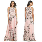 Sleeveless Flower Printed Full Dress with Belt Canonicals Robe Formal Beach X