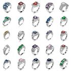 Size 6-10 Women Fashion Sapphire Ring 925 Solid Silver Wedding Party Jewelry