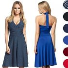 Glamour Empire. Women's Silky Skater Dress Empire Waist Tie Halter Neck. 163