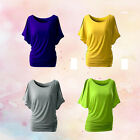 Bat Sleeve T-shirt Loose Solid Round Neck Tops Ladies Blouse